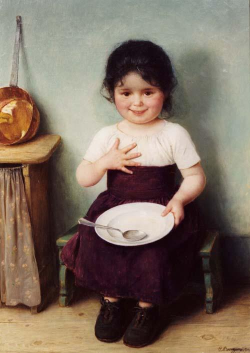 Mädchen mit Teller by Carl von Bergen
