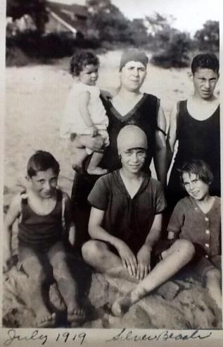 The Schines at Silver Beach. My grandmother Beatrice is at the bottom right.