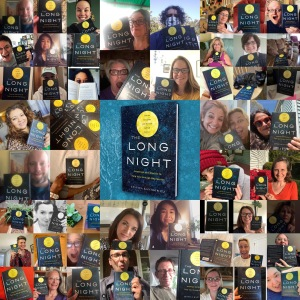 A collage of dozens of people holding The Long Night
